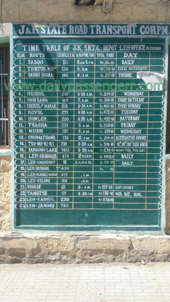 Bus schedule from Leh