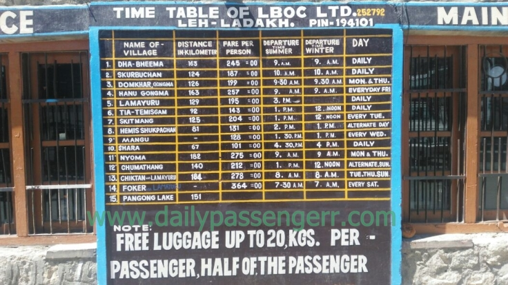 Ladakh bus timings