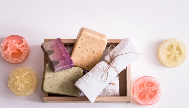 Spa composition on white background soap in box